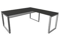 Kerkmann 4942 Schreibtisch Architekt mit Anbau Bügelgestell (BxTxH) 180x180x68-82cm Anthrazit/Alusilber