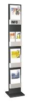Kerkmann 6596 Prospektständer FIRST mit 4 Fächern für DIN A4 Anthrazit/Silber