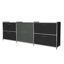 Kerkmann 7325 Sideboard Artline 2OH (BxTxH) 236x38x78cm 2 Schubladen 1 Glastürenpaar Anthrazit