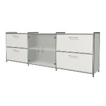 Kerkmann 7326 Sideboard Artline 2OH (BxTxH) 236x38x78cm 2 Schubladen 1 Glastürenpaar Weiß