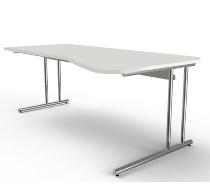 Kerkmann 7665 Freiformtisch Artline C-Fuß höhenverstellbar (BxTxH) 195 x 80-100 x 68-82 cm Weiß
