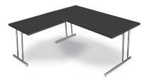 Kerkmann 7670 Schreibtisch Artline C-Fuß mit Anbau 100 (BxTxH) 160 x 80 x 68-82 cm Anthrazit