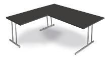 Kerkmann 7671 Schreibtisch Artline C-Fuß mit Anbau 100 (BxTxH) 180 x 80 x 68-82 cm Anthrazit