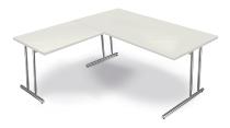 Kerkmann 7680 Schreibtisch Artline C-Fuß mit Anbau 100 (BxTxH) 160 x 80 x 68-82 cm Weiß