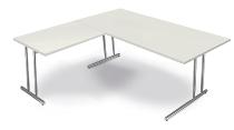 Kerkmann 7681 Schreibtisch Artline C-Fuß mit Anbau 100 (BxTxH) 160 x 80 x 68-82 cm Weiß