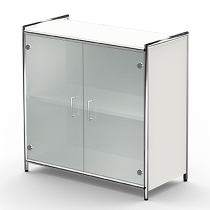 Kerkmann 7995 Sideboard Artline 2OH (BxTxH) 800 x 380 x 780 mm inkl.Glastüren Weiß/Glas