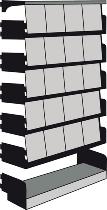 Kerkmann 8841 Klappenregal Univers ANBAUFELD mit 20 Klappen (HxBxT) 200x100x30cm lichtgrau