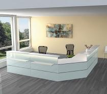 Kompletttheke Atlantis 1 (BxT) 3800x2550mm - 1x 3456, 2x 3289, 1x 3396, 2x 3399 Weiß/Glas