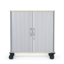 Geramöbel mobiler Querrollladenschrank 04Q1508 verschließbar 1OH +Ablagefach (HxBxT) 72x80x40cm Silber/Ahorn