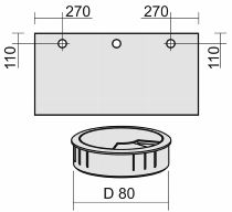 Geramöbel 05Z80ML Kabeleinlassbuchse Ø 80mm montiert Position LINKS Silber