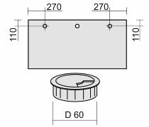 Geramöbel 05ZML Kabeleinlassbuchse Ø 60mm montiert Position LINKS Silber