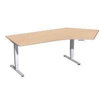 Geramöbel 08E1616 Elektro-Hubtisch Pro+ Winkel 135° rechts (BxTxH) 2166x1130x625-1285mm Buche/Silber