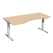 Geramöbel 08E1812 Elektro-Hubtisch Pro+ Freiform links (BxTxH) 1800x1000x625-1285mm Buche/Silber