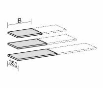 Geramöbel Einlegeboden 10EBS10 mit Bodenträger für Breite 1000mm mit Mittelseite Ahorn