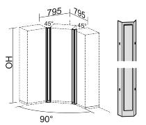 Geramöbel Eckverbinder 45° Pro 5OH (1920mm) 10EV545 Blechelemente mit Holzblende Ahorn/Silber
