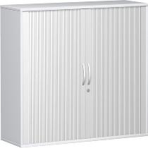 Geramöbel Querrollladenschrank Pro 10Q312 mit 2 Dekor-Einlegeboden (BxTxH) 1200x425x1152mm Silber/Weiß