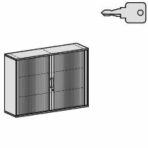 Geramöbel Querrollladenschrank Pro 10Q316 mit 4 Dekor-Einlegeboden (BxTxH) 1600x425x1152mm Silber/Ahorn