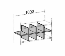 Geramöbel Regalausfachung 10RA10 für 1 Ordnerhöhe Korpusbreite 1000mm Ahorn