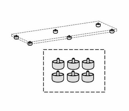 Geramöbel Standfüße Serie Pro 10SF6 justierbar für Schrankbreite ab 1200mm Pack 6 Stück Schwarz