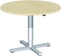 Geramöbel 13HFN09 Hubsäulentisch Kreisform, feststehend D-900x680-1120mm Ahorn/Silber