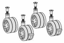 Geramöbel 382116 Ersatzrollen-Set 4 Rollen je 2x mit/ohne Feststeller Nutzlast 70kg Schwarz