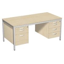 Geramöbel 522114 Schreibtisch 4-Fuß ECO mit 2 Hängecontainern feste Höhe (BxTxH) 160x80x72cm Ahorn/Lichtgrau
