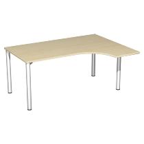 Geramöbel PC-Schreibtisch 550307 4-Fuß Flex PC rechts feste Höhe (BxTxH) 160x120x72cm Ahorn/Silber