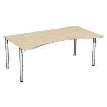 Geramöbel 550337 Schreibtisch 4-Fuß Flex ERGOform feste Höhe (BxTxH) 180x100x72cm Ahorn/Silber