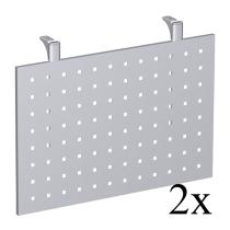 Geramöbel Knieraumblende 617606-S C-Fuß Flex Sichtblende für 90° Volleckplatte (2er Set) Höhe 40cm Lochblech Silber
