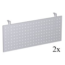Geramöbel Knieraumblende 617607-S C-Fuß Flex Sichtblende für 90° Trapezplatte (2er Set) Höhe 40cm Lochblech Silber