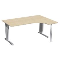 Geramöbel Schreibtisch 647307 C-Fuß PRO PC rechts höhenverstellbar 68-82cm (BxT) 160x120cm Ahorn/Silber