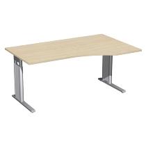 Geramöbel Schreibtisch 647311 C-Fuß PRO PC rechts höhenverstellbar 68-82cm (BxT) 160x100cm Ahorn/Silber