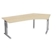 Geramöbel Schreibtisch 647316 C-Fuß PRO Winkel 135° rechts höhenverstellbar 68-82cm (BxT) 216,6x113cm Ahorn/Silber