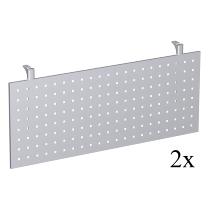 Geramöbel Knieraumblende gelocht 647610 für 90° Fünfeck-Verkettungsplatte (2er Set) Höhe 40cm Silber