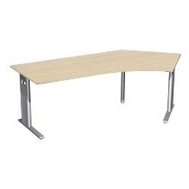 Geramöbel Schreibtisch 648316 C-Fuß PRO Winkel 135° rechts feste Höhe (BxTxH) 216,6x113x72 Ahorn/Silber