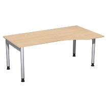 Geramöbel 657305 Schreibtisch 4-Fuß PRO Freiform PC rechts höhenverstellbar 68-82cm (BxT) 180x100cm Buche/Silber