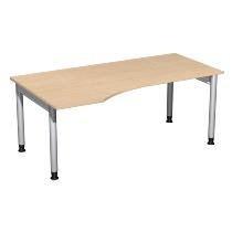Geramöbel 657306 Schreibtisch 4-Fuß PRO Freiform PC links höhenverstellbar 68-82cm (BxT) 180x100cm Buche/Silber