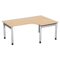 Geramöbel 657309 Schreibtisch 4-Fuß PRO Freiform PC rechts höhenverstellbar 68-82cm (BxT) 180x120/80cm Buche/Silber