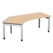 Geramöbel 657315 Schreibtisch 4-Fuß PRO Winkel 135° links höhenverstellbar 68-82cm (BxT) 216.6x113cm Buche/Silber