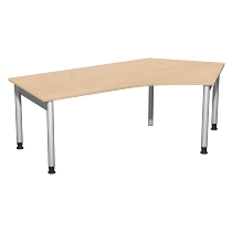 Geramöbel 657316 Schreibtisch 4-Fuß PRO Winkel 135° rechts höhenverstellbar 68-82cm (BxT) 216.6x113cm Buche/Silber