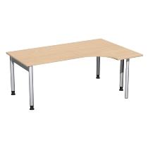Geramöbel 657323 Schreibtisch 4-Fuß PRO Freiform PC rechts höhenverstellbar 68-82cm (BxT) 180x120cm Buche/Silber