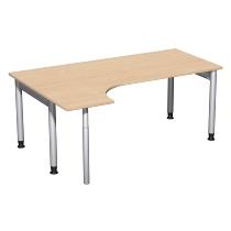 Geramöbel 657324 Schreibtisch 4-Fuß PRO Freiform PC links höhenverstellbar 68-82cm (BxT) 180x120cm Buche/Silber
