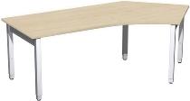 Geramöbel Schreibtisch 4-Fuß Pro Quadrat 667316 Winkel 135° rechts höhenverstellbar 68-86cm (BxT) 2166x1130cm Ahorn/Silber