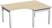 Geramöbel PC-Schreibtisch 4-Fuß Pro Quadrat 667319 PC rechts höhenverstellbar 68-86cm (BxT) 1600x1200cm Ahorn/Silber