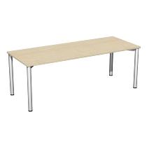 Geramöbel 710127 Konferenztisch Rundfuß feste Höhe, 2000x800x720, Ahorn/Silber