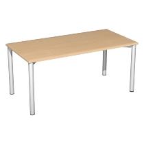 Geramöbel 710130 Konferenztisch Rundfuß feste Höhe, 1800x1000x720, Buche/Silber