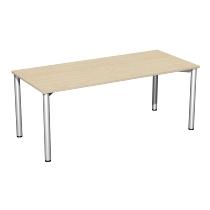 Geramöbel Konferenztisch Rundfuß feste Höhe, 2000x1000x720, Ahorn/Silber