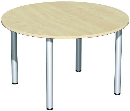 Geramöbel 710203 Besprechungstisch Kreisform Rundfuß feste Höhe (ØxH)1200x720 Ahorn/Silber