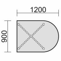 Geramöbel 710510 Konferenztisch Rundfuß, Halbovalform, feste Höhe, 1200x900x720, Ahorn/Silber