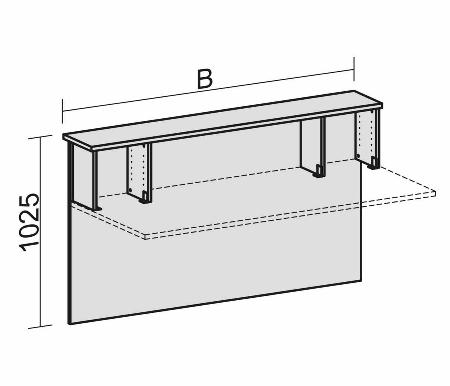 Geramöbel Thekenelement 830020 gerade mit Fachseiten für Tischbreite 2000mm Nussbaum